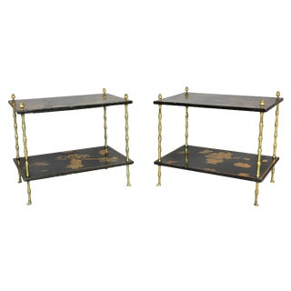 Pair of Chinoiserie Black Lacquer and Brass End Tables Attributed to Baguès For Sale