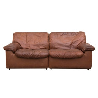 De Sede Cognac Leather Small Sofa For Sale