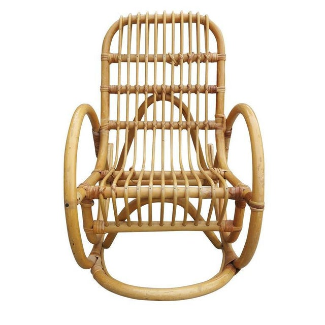 Wondrous Restored Rare Snake Arm Rattan Childrens Rocking Chair Gmtry Best Dining Table And Chair Ideas Images Gmtryco