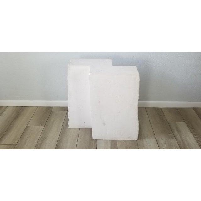 Mid-Century Modern Postmodern Geometric White Plaster Pedestal For Sale - Image 3 of 12