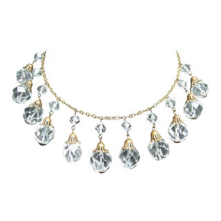Opulent Art Deco Crystal Drop Necklace C 1940s For Sale