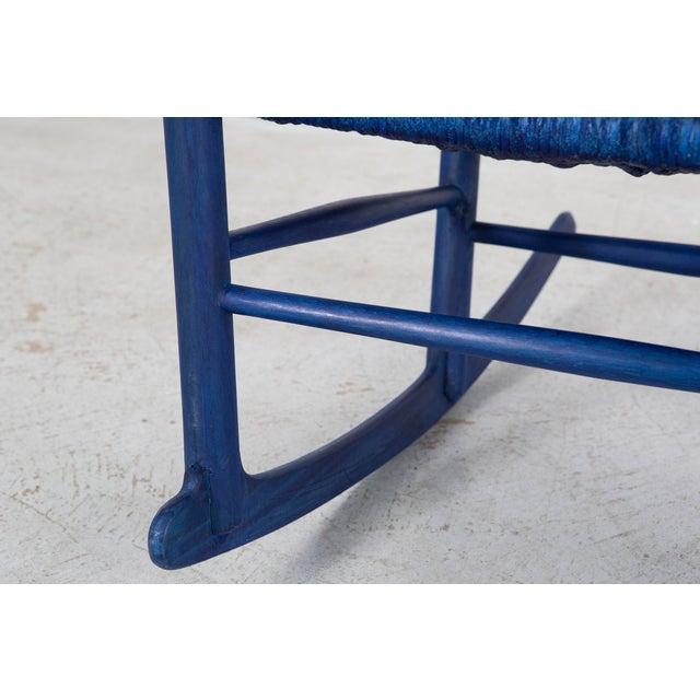 Beech Hans Wegner Royal Blue Rocker For Sale - Image 7 of 12