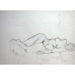 """1930s Rafael Soyer """"Resting Nude"""" Drawing For Sale"""