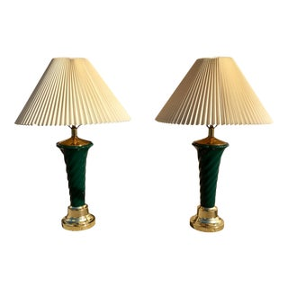 Asian Export Sea-Green Ceramic Twist Table Lamps - a Pair For Sale