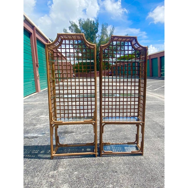 Wood Vintage Hollywood Regency Bamboo Pagoda Etagere - a Pair For Sale - Image 7 of 8