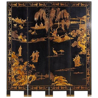 Chinese Four Panel-Gilt Lacquer Coromandel Screen For Sale