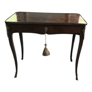 Antique Cherry Writing Desk With Inlay Top and Brass Details For Sale