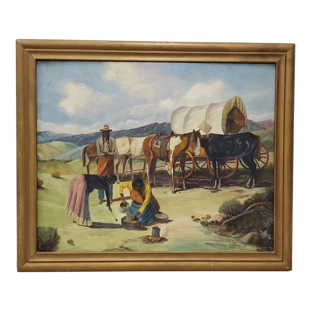 "Vintage American West Oil Painting ""Lunch Time"" by William Metter C.1940s For Sale"