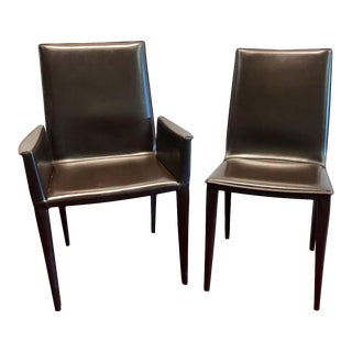 Ten Frag Italian Leather Dining Chairs Marchio Collection by Design Within Reach For Sale