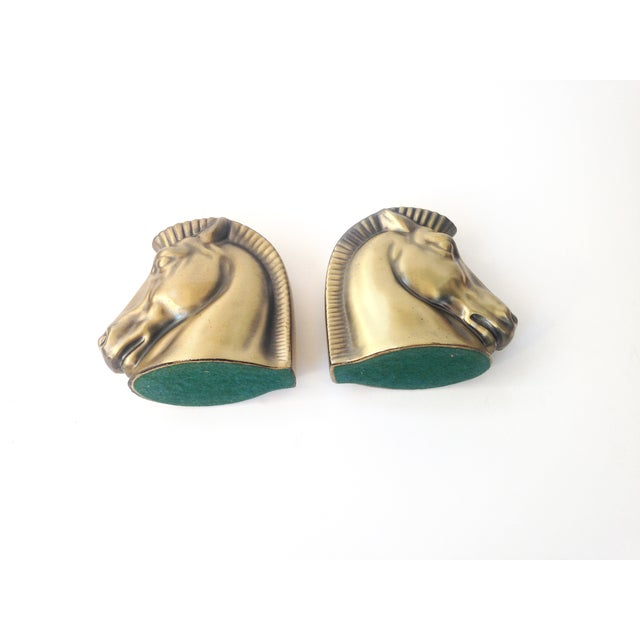 Vintage Gold Tone Horse Head Bookends - Image 5 of 5