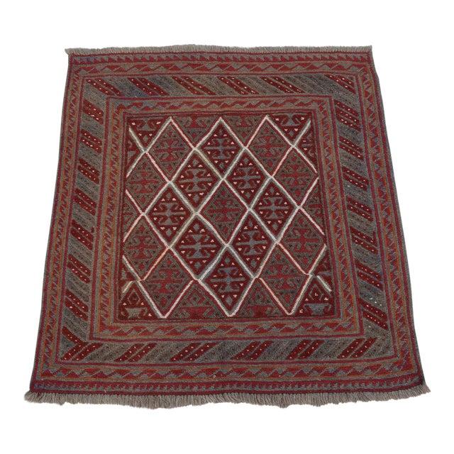 "Vintage Tribal Turkish Kilim Rug - 3'9"" x 4' For Sale"