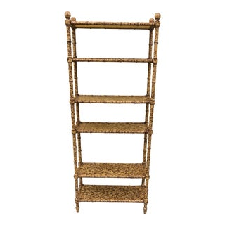 Faux Bamboo Tortoise Shell Finish Etagere For Sale