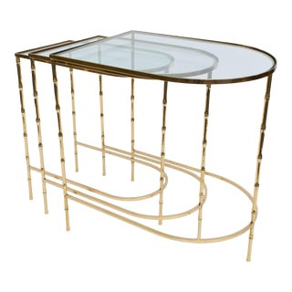 Brass and Glass Faux Bamboo Nesting Tables - Set of 3 For Sale