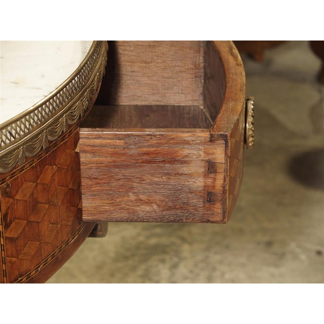 19th Century 19th Century French 4-Drawer Marble Top Bouillote Table For Sale - Image 5 of 13