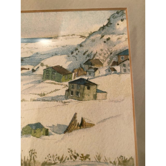 Beige Winter Scene of a Lakeside Nordic Town Watercolor Painting, Framed For Sale - Image 8 of 11