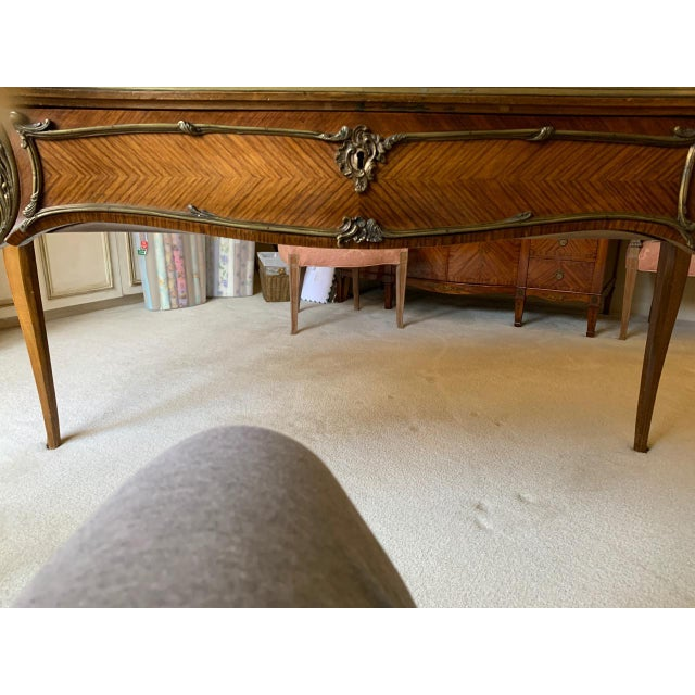 1920s Louis XV Style Kingwood Veneer and Brass Mounted Writing Desk For Sale - Image 5 of 12