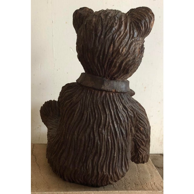 Wooden Carved Teddy Bear For Sale - Image 4 of 6