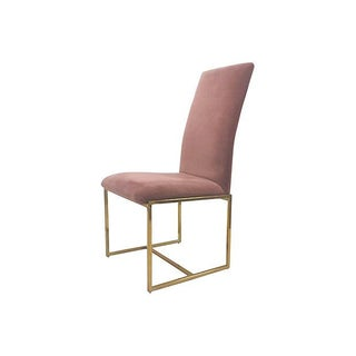 Velveteen Armless Brass Side Chair