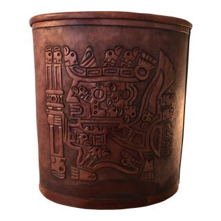Tooled Leather Peruvian Waste Basket