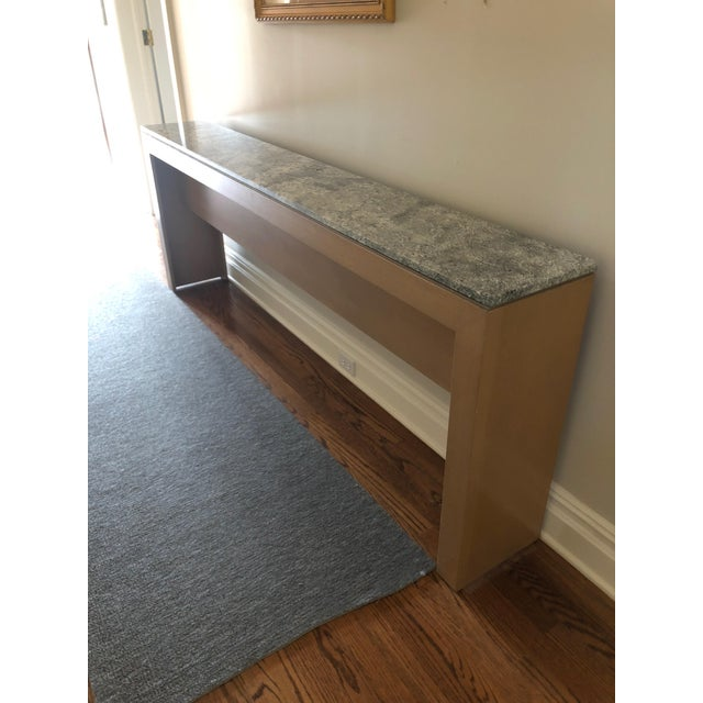 White Contemporary Long & Narrow Sleek Birch and Marble Console Table For Sale - Image 8 of 13