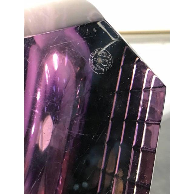 Baccarat Baccarat Rare Modern Glass Vase Signed Purple For Sale - Image 4 of 6