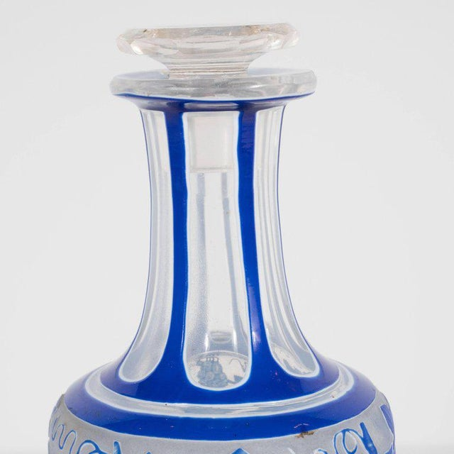 1930s French Art Deco Decanter in Ancient Blue with Grape Vine and Leaf Motif For Sale - Image 5 of 10