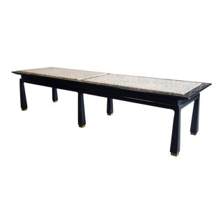Mid-Century Black Lacquer and Terrazzo Coffee Table / Bench For Sale
