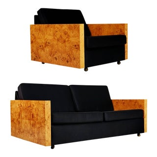 1970s Vintage Burl Wood Case Sofa and Lounge Chair by Milo Baughman For Sale