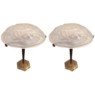 Degue Signed French Art Deco Table Lamps - a Pair For Sale