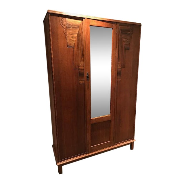 English Oak Wardrobe With Walnut Accents & Mirror - Image 1 of 11