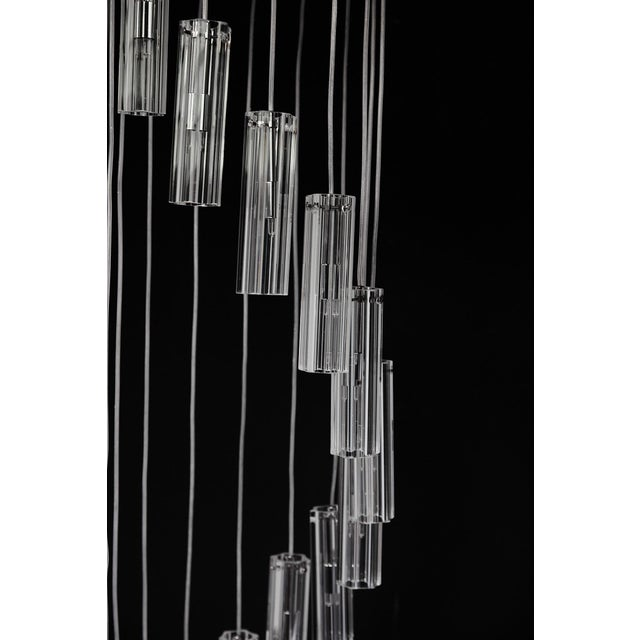 """Cascading Glass Pendant Chandelier, 60"""" For Sale - Image 9 of 13"""