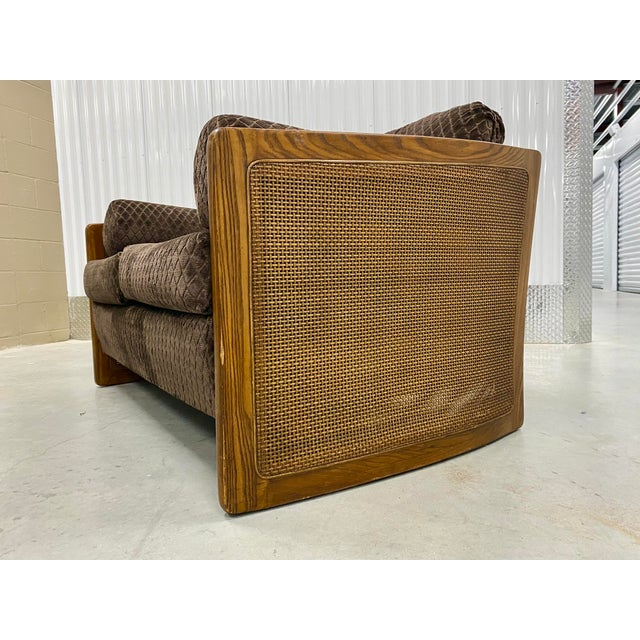 Wood Mid Century Modern Reupholstered Loveseat For Sale - Image 7 of 10