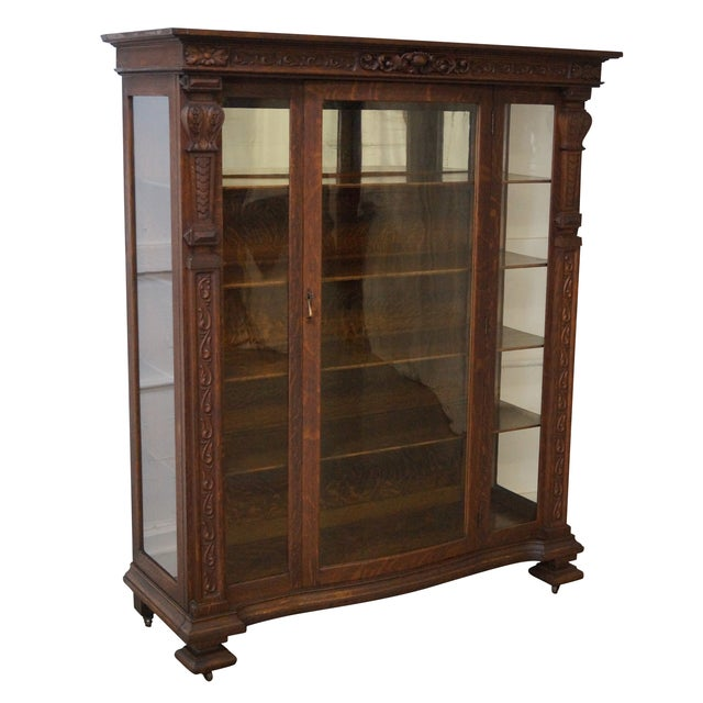 Antique Renaissance Oak Carved Bow Door Cabinet - Image 1 of 10