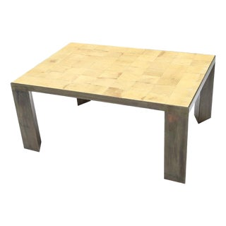 Parchment and Metal Coffee Table For Sale