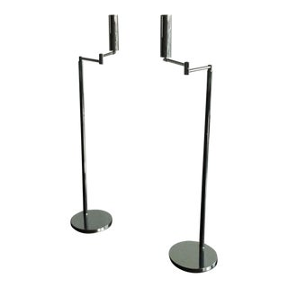 1970s Von Nessen Articulated Floor Lamps - a Pair For Sale