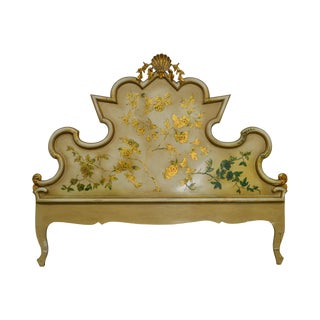 Italian Florentine Style Vintage 1950s Painted King Size Headboard For Sale