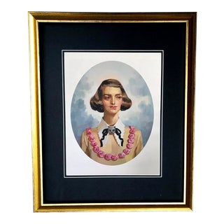 Framed Gucci Vintage Mid Century Woman Cat Brooch Illustration Art For Sale
