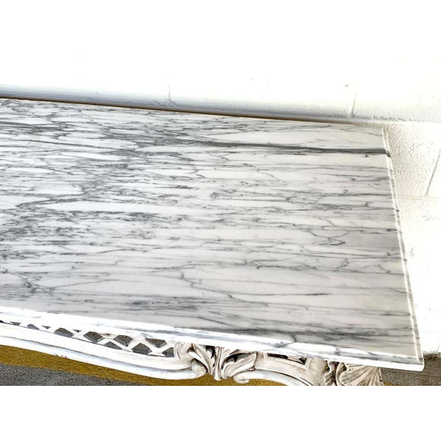 Late 20th Century French Neoclassical Grey Painted Marble-Top Console Table For Sale - Image 5 of 10