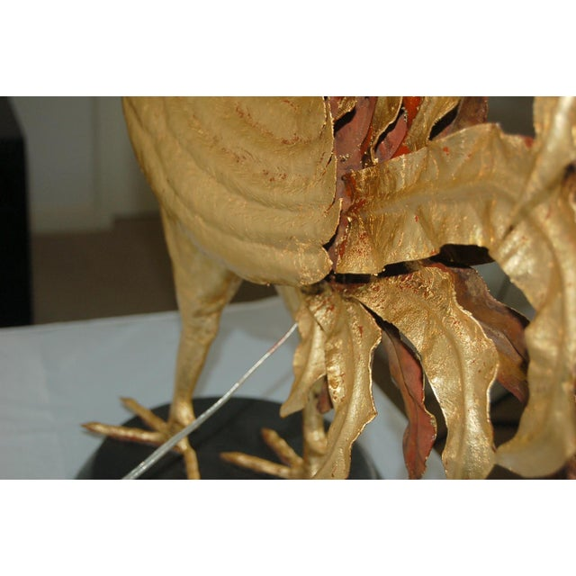 Gold Marbro Italian Metal Rooster Table Lamp Gold For Sale - Image 8 of 11