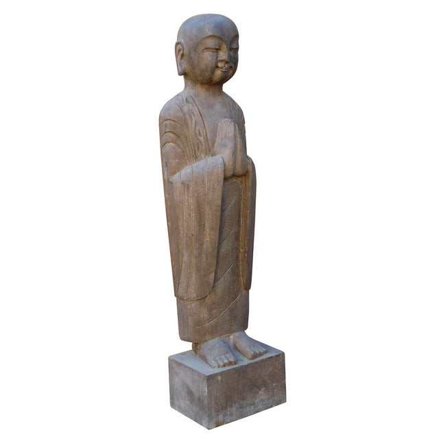 Chinese Stone Carved Monk Lohon Statue - Image 3 of 7
