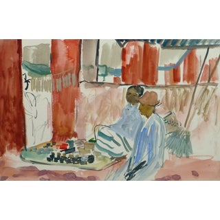 Stephane Magnard, French Watercolor - Island Market For Sale