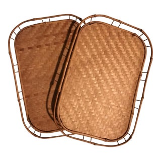 Vintage Rattan Serving Trays - A Pair