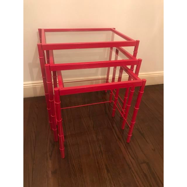 Red Lacqured Faux Bamboo Metal Nesting Tables - Set of 3 - Image 4 of 7