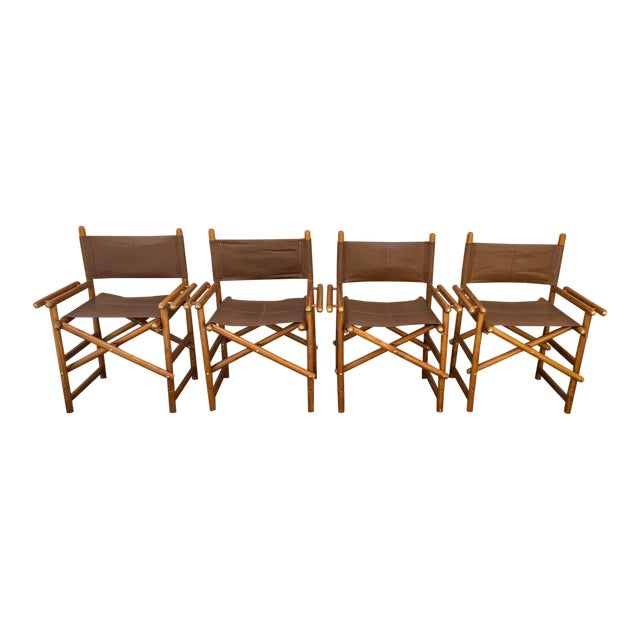Vintage Set of 4 Leather Safari Chairs For Sale