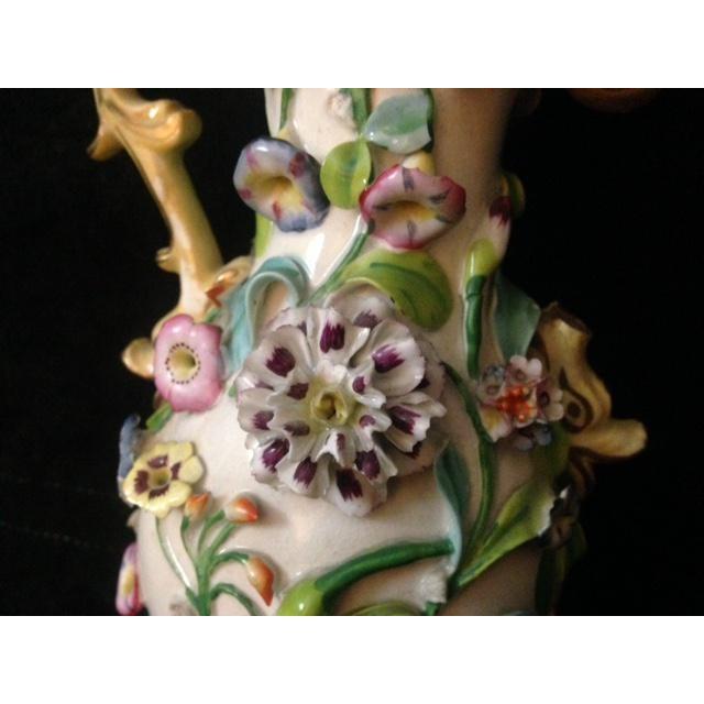 Antique Pastel Floral Porcelain Vase For Sale - Image 7 of 11