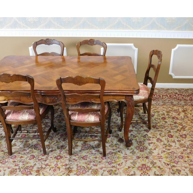 1960s French Country Oak Draw Leaf Table & 6 Chairs - Image 10 of 10