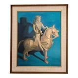 "Image of 1970's Vintage ""Knight"" Oil on Canvas Painting For Sale"