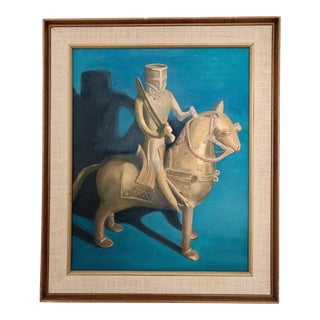 "1970's Vintage ""Knight"" Oil on Canvas Painting For Sale"