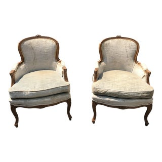 20th Century Louis XV Walnut Bergere Chairs - a Pair