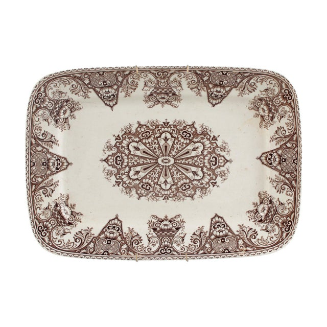 """Antique English Brown Transferware Serving Platter """"Milan"""" Pattern W. H. Grindley & Co. For Sale In Los Angeles - Image 6 of 6"""